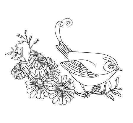Black contour illustration bird and flowers. Vector line art illustration isolated on white. Vector hand drawn monochrome image for coloring book, wedding invitation, design, print, t shirt, home decor.