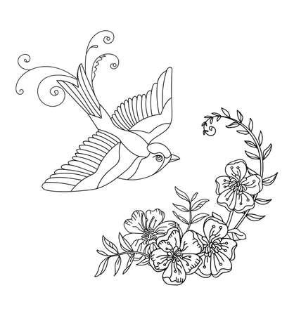 Vector line art bird and decorative flowers. Black contour illustration isolated on white. Vector hand drawn monochrome template for coloring book, wedding invitation, design, print, t shirt, home decor. Archivio Fotografico - 154772496