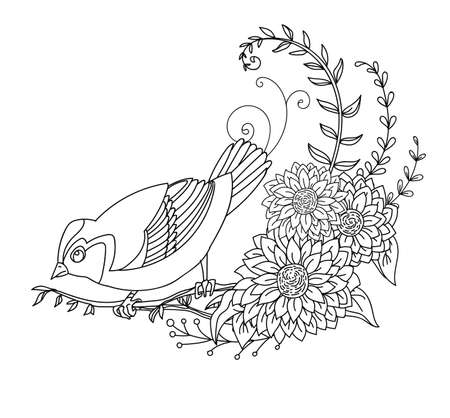 Black contour cute illustration bird and flowers. Vector line art illustration isolated on white. Vector hand drawn monochrome image for coloring book, wedding invitation, design, print, t shirt, home decor.