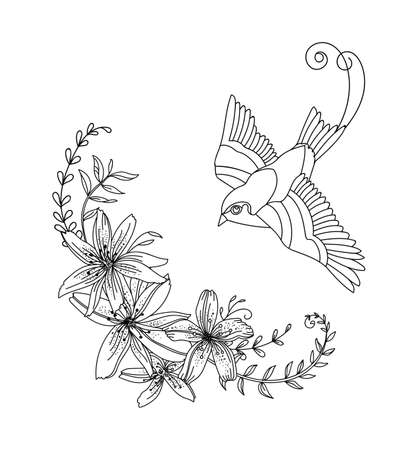 Vector line art bird and flowers. Black contour decorative illustration isolated on white. Vector hand drawn monochrome template for coloring book, wedding invitation, design, print, t shirt, home decor.