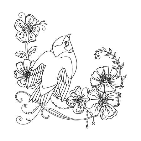 Black contour illustration bird and flowers. Vector line art illustration isolated on white. Vector hand drawn monochrome image for coloring book, wedding invitation, home decor, design, print, t shirt. Archivio Fotografico - 154772943