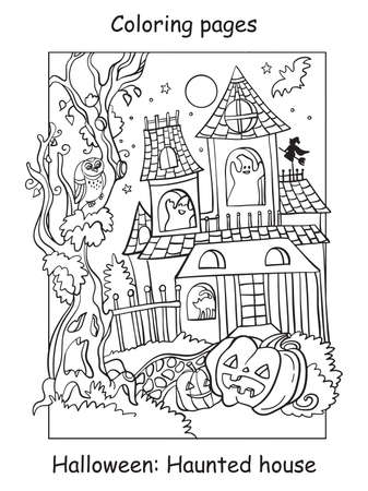 Vector coloring pages funny haunted house with pumpkin. Halloween concept. Cartoon contour illustration isolated on white background. Coloring book for children, preschool education, print and game.
