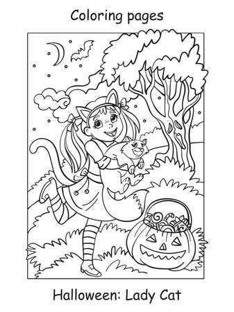 Vector coloring pages girl in a cat costume holds a cat. Halloween concept. Cartoon contour illustration isolated on white background. Coloring book for children, preschool education, print and game.