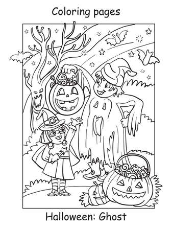 Vector coloring pages children in costumes of ghost and witch. Halloween concept. Cartoon contour illustration isolated on white. Coloring book for children, preschool education, print and game.