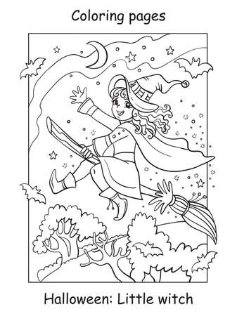 Vector coloring pages little witch flying on broom. Halloween concept. Cartoon contour illustration isolated on white background. Coloring book for children, preschool education, print and game.