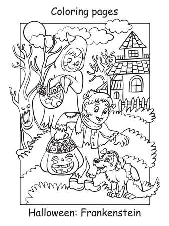 Vector coloring pages children in costumes of ghost and frankenstein patted the dog. Halloween concept. Cartoon illustration isolated on white. Coloring book for children, preschool education, print and game. Vettoriali