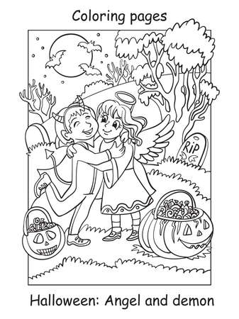 Vector coloring pages children in costumes of angel and demon hug. Halloween concept. Cartoon contour illustration isolated on white. Coloring book for children, preschool education, print and game.