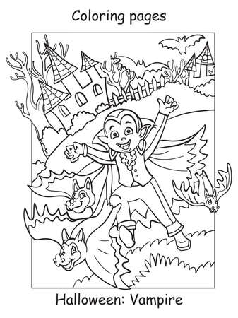 Vector coloring pages running kid in costume of vampire and bats. Halloween concept. Cartoon contour illustration isolated on white. Coloring book for children, preschool education, print and game.