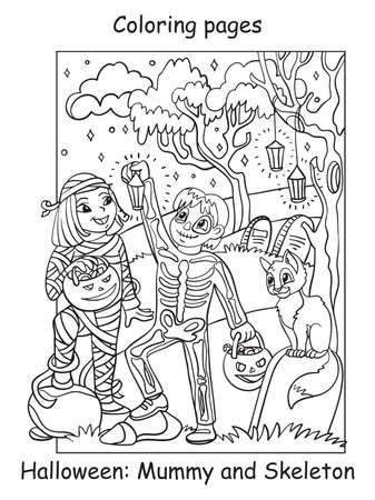 Vector coloring pages happy children in costumes of skeleton and mummy. Halloween concept. Cartoon contour illustration isolated on white. Coloring book for children, preschool education, print and game.