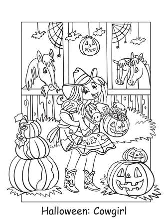 Vector coloring pages girl in costume of cowgirl in the stable. Halloween concept. Cartoon contour illustration isolated on white. Coloring book for children, preschool education, print and game. Vettoriali
