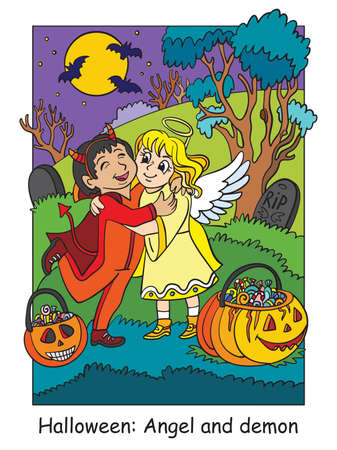 Vector colorful illustration children in costumes of angel and demon hug. Halloween concept. Cartoon illustration isolated on white background. For coloring book for children, preschool education, print and game.