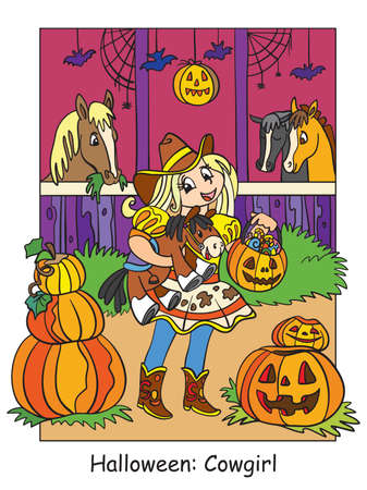 Vector colorful illustration cute girl in costume of cowgirl in the stable. Halloween concept. Cartoon illustration isolated on white background. For coloring book for children, preschool education, print and game.