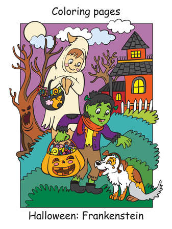 Vector colorful illustration children in costumes of ghost and frankenstein patted the dog. Halloween concept. Cartoon illustration isolated on white background. For coloring book for children, preschool education, print and game.