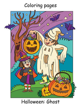 Vector colorful illustration happy children in costume of witch and ghost. Halloween concept. Cartoon illustration isolated on white background. For coloring book for children, preschool education, print and game.