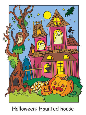 Vector colorful illustration haunted house and scary tree and pumpkin. Halloween concept. Cartoon illustration isolated on white background. For coloring book for children, preschool education, print and game.