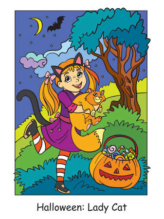 Vector colorful illustration cute little girl in costume of cat hugging a cat. Halloween concept. Cartoon illustration isolated on white background. For coloring book for children, preschool education, print and game.
