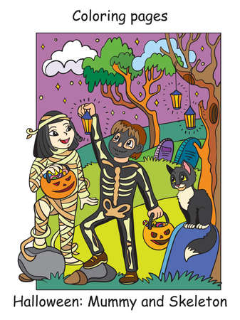 Vector colorful illustration happy children in costumes of skeleton and mummy. Halloween concept. Cartoon illustration isolated on white background. For coloring book for children, preschool education, print and game.