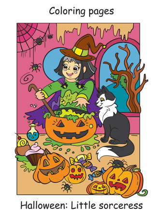 Vector colorful illustration little witch cooks a potion in cauldron. Halloween concept. Cartoon illustration isolated on white background. For coloring book for children, preschool education, print and game.