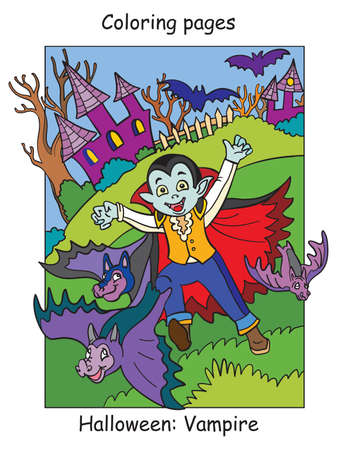Vector colorful illustration running kid in costume of vampire and bats. Halloween concept. Cartoon illustration isolated on white background. For coloring book for children, preschool education, print and game.