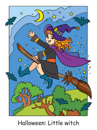 Vector colorful illustration little witch flying on broom. Halloween concept. Cartoon illustration isolated on white background. For coloring book for children, preschool education, print and game. Vettoriali