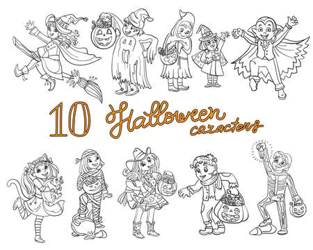 Cartoon halloween illustration. Vector coloring pages set of happy children in costumes. Coloring book for children, preschool education, print, game, decoration and stickers.