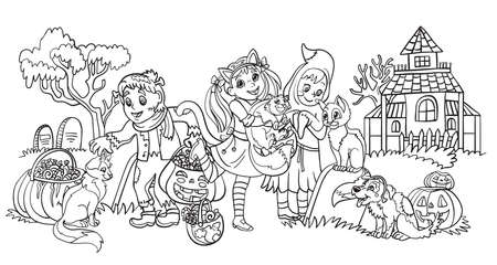 Cartoon halloween horizontal illustration. Vector coloring pages happy children in costumes of ghost, Lady Cat and monster. Coloring book for children, preschool education, print, game, decoration. Vettoriali