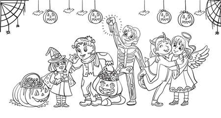 Cartoon spooky halloween horizontal illustration. Vector coloring pages happy children in costumes celebrating Halloween. Coloring book for children, preschool education, print, game, decoration. Vettoriali
