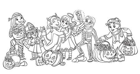 Cartoon halloween illustration. Vector coloring pages happy children in costumes of mummy, witch, skeleton with pumpkins. Coloring book pages for children, preschool education, print, game, decoration. Vettoriali