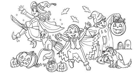 Cartoon halloween illustration. Vector coloring pages happy children in costumes of witch, vampire, ghost with pumpkins. Coloring book pages for children, preschool education, print, game, decoration.