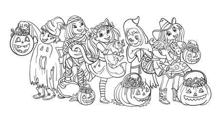 Cartoon halloween horizontal illustration. Vector coloring pages happy children in costumes of mummy, cowgirl, ghost. Coloring book for children, preschool education, print and game. Vettoriali