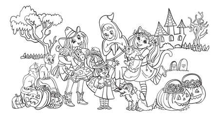 Cartoon halloween horizontal illustration. Vector coloring pages happy children in costumes of ghost, cowgirl, witch. Coloring book for children, preschool education, print, game, decoration. Vettoriali