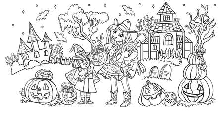 Cartoon halloween horizontal illustration. Vector coloring pages two happy sisters in costumes of witch and cowgirl. Coloring book for children, preschool education, print, game, decoration.