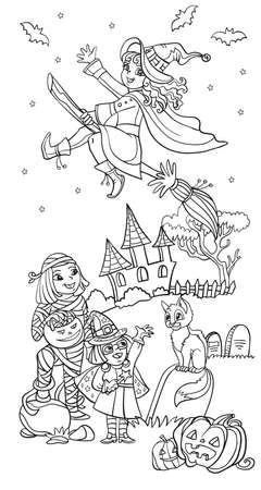 Cartoon halloween vertical illustration. Vector coloring pages happy children in costumes of mummy and two witches. Coloring book for children, preschool education, print and game.