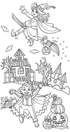 Cartoon halloween illustration. Vector coloring pages happy children in costumes of vampire and witch. Coloring book for children, preschool education, print and game.