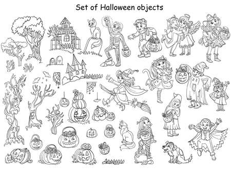Cartoon halloween illustration. Vector coloring pages big set of children in costumes and different Halloween objects. Coloring book for children, print, game, decoration and stickers.