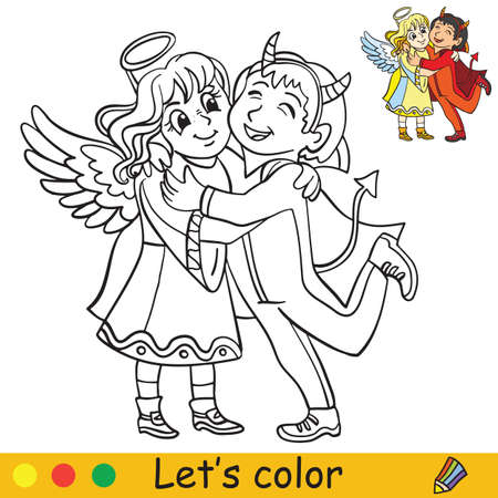 Cute little children in costumes of angel and demon hugging. Coloring book.Halloween cartoon vector illustration isolated on white background. Coloring book page with an example for coloring