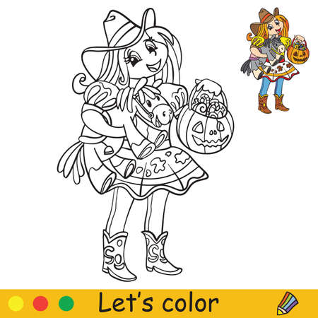 Cute little girl in costume of cowgirl with toy horse. Coloring book.Halloween cartoon vector illustration isolated on white background. Coloring book page with an example for coloring Vettoriali