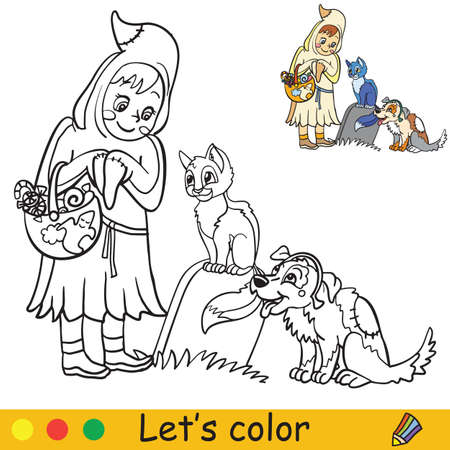 Cute little girl in costume of ghost with cat and dog. Coloring book.Halloween cartoon vector illustration isolated on white background. Coloring book page with an example for coloring