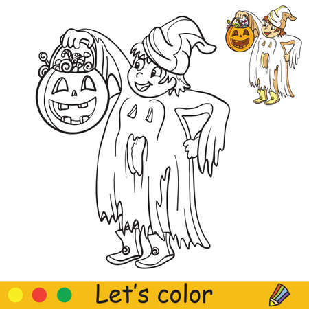 Cute little child in costume of ghost with lantern in form in pumpkin. Coloring book.Halloween cartoon vector illustration isolated on white background. Coloring book page with an example for coloring