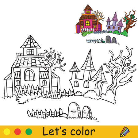 Three haunted houses with dead trees and tombstones. Coloring book. Halloween cartoon vector illustration isolated on white background. Coloring book page with an example for coloring