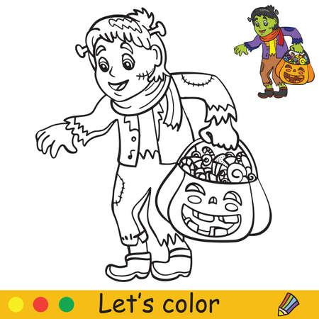 Cute little child in costume of live dead with lantern in form in pumpkin. Coloring book.Halloween cartoon vector illustration isolated on white background. Coloring book page with an example for coloring Vettoriali