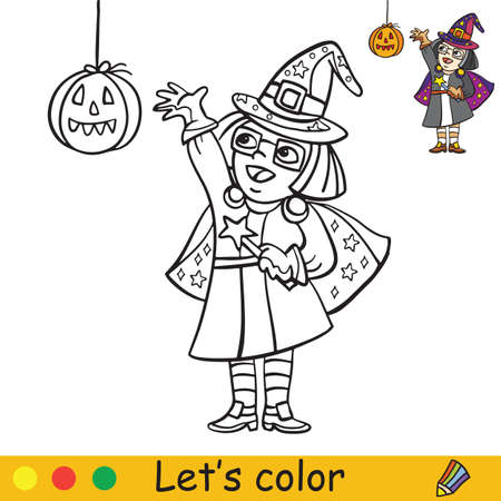 Cute little girl in costume of witch with lantern in form in pumpkin. Coloring book.Halloween cartoon vector illustration isolated on white background. Coloring book page with an example for coloring