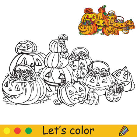 Lots of Halloween pumpkin lanterns and pumpkins. Coloring book. Halloween cartoon vector illustration isolated on white background. Coloring book page with an example for coloring Vettoriali