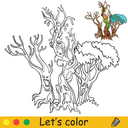 Three scary trees with faces. Coloring book. Halloween cartoon vector illustration isolated on white background. Coloring book page with an example for coloring Vettoriali