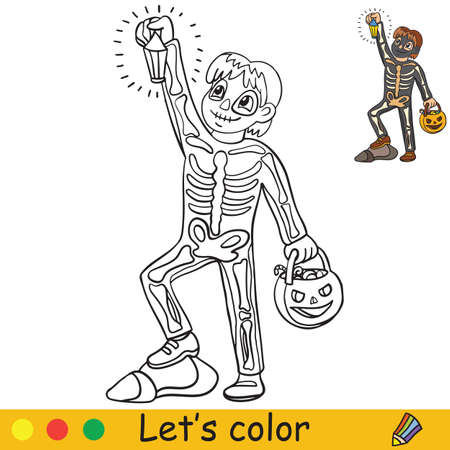 Cute little child in costume of skeleton with lantern in form in pumpkin. Coloring book.Halloween cartoon vector illustration isolated on white background. Coloring book page with an example for coloring