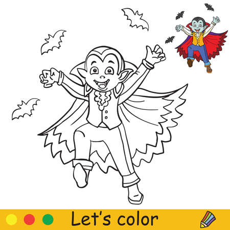 Cute little running boy in costume of vampire with flying bats. Coloring book.Halloween cartoon vector illustration isolated on white background. Coloring book page with an example for coloring Vettoriali