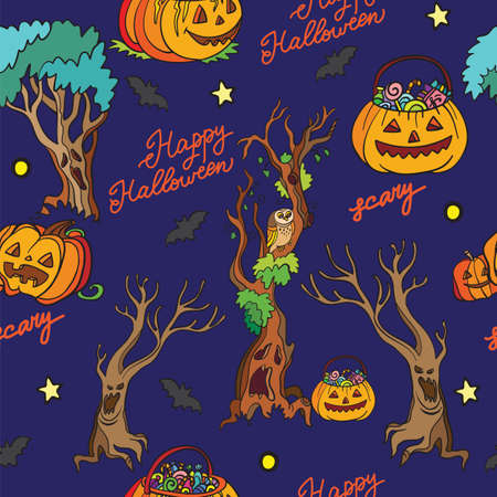 Seamless pattern with pumpkins and dead trees cartoon Halloween theme on blue. Vector illustration Halloween concept. For packaging paper, Wallpaper, design, decoration, textiles, design cushion. 스톡 콘텐츠 - 156157664