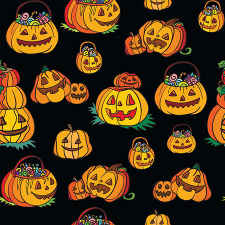 Seamless pattern with pumpkins cartoon Halloween theme on black background. Vector illustration Halloween concept. For packaging paper, Wallpaper, design, decoration, textiles, design cushion.