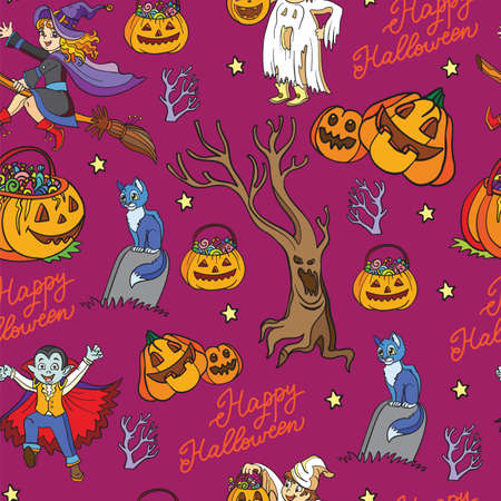 Seamless pattern with pumpkins, vampire, cat and dead tree cartoon Halloween theme. Vector illustration Halloween concept. For packaging paper, Wallpaper, design, decoration, textiles, design cushion. Vettoriali