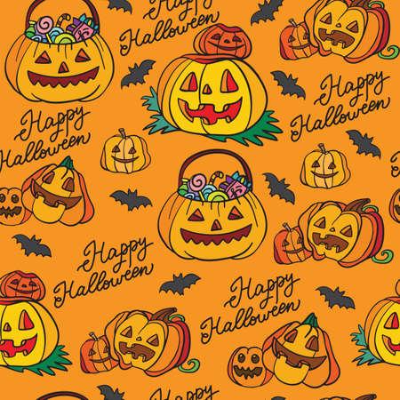 Seamless pattern Halloween pumpkins on orange background